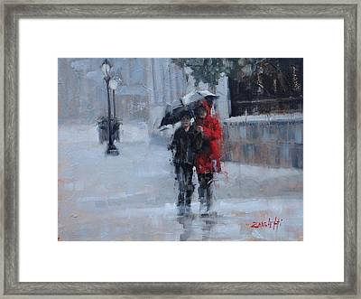 A Stroll In The Rain Framed Print by Laura Lee Zanghetti
