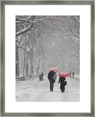 A Stroll In The Snow Framed Print by Cornelis Verwaal