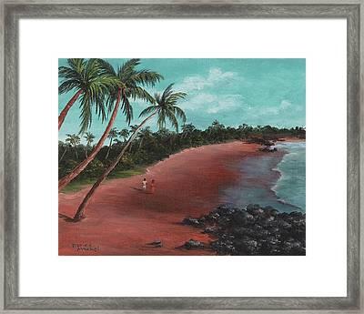A Stroll On A Tropical Beach Framed Print by Darice Machel McGuire