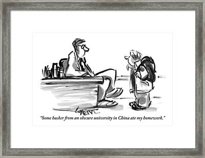 A Student With A Backpack Is Seen Speaking Framed Print by Lee Lorenz