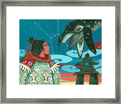 Framed Print featuring the painting A Study For Whale Dreamer by Chholing Taha