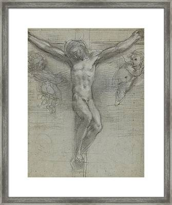 A Study Of Christ On The Cross With Two Framed Print by Federico Fiori Barocci or Baroccio