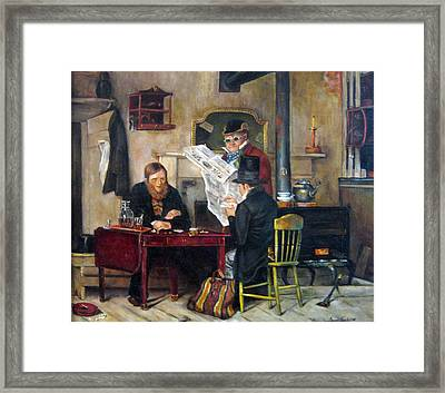Framed Print featuring the painting A Study Of Waiting For The Stage by Donna Tucker