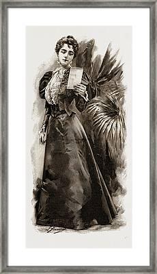 A Stylish Black Satin Dress, Fashion Framed Print by Litz Collection