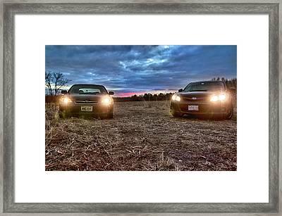 A Subaru Sunset Framed Print by Ryan Crane