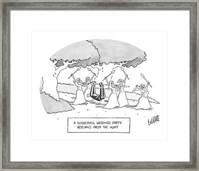 A Successful Wedding Party Returns From The Hunt Framed Print by Glen Le Lievre