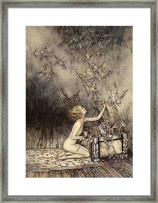A Sudden Swarm Of Winged Creatures Framed Print by Arthur Rackham