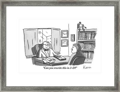 A Suited Man Behind A Desk Addresses A Writer Framed Print