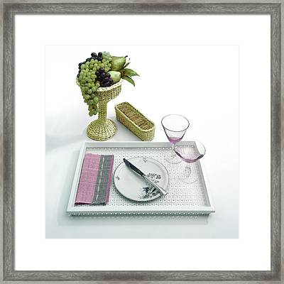 A Summer Table Setting On A Tray Framed Print by Haanel Cassidy