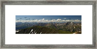 A Summit View Panorama Text Framed Print by Jeremy Rhoades
