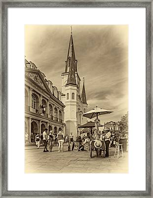 A Sunny Afternoon In Jackson Square Sepia Framed Print
