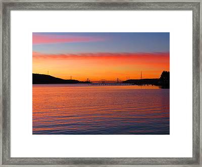 A Sunset And A Bridge Framed Print