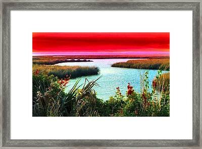 A Sunset Crimsoned Framed Print