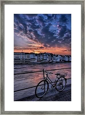A Sunset Cycle By The Rhine Basel Framed Print by Carol Japp