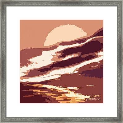 A Sunset In The Valley. Digital Drawing Framed Print