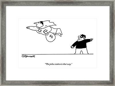 A Super Hero Robs A Criminal And Flies Away Framed Print