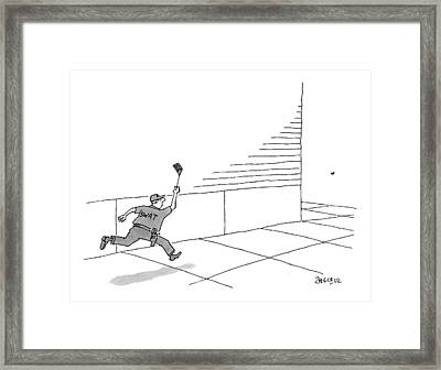 A S.w.a.t Team Member Is Running Down The Block Framed Print