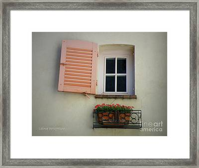 A Sweet Shuttered Window Framed Print by Lainie Wrightson