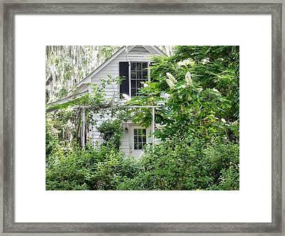 A Swell Side Entrance With Oakleaf Hydrangea Framed Print