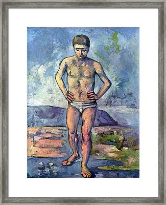 A Swimmer By Cezanne Framed Print by John Peter
