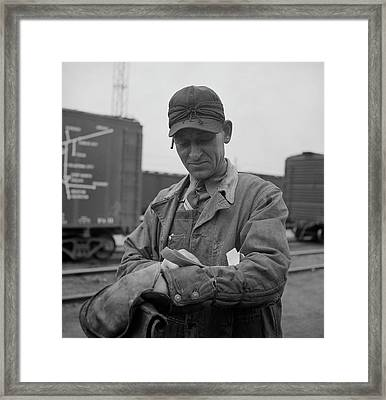 A Switchman At The Clyde Yard Framed Print by Stocktrek Images