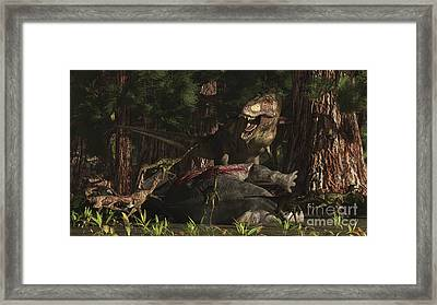 A T-rex Returns To His Kill And Finds Framed Print by Arthur Dorety