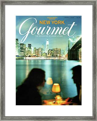A Table At The River Cafe In Brooklyn Framed Print