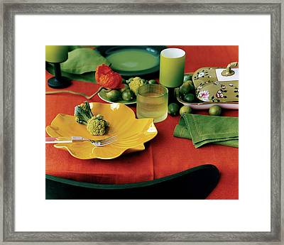 A Table Setting With Pieces By Ralph Lauren Framed Print by Martyn Thompson
