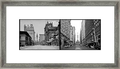 A Tail Of Two Cities - South Broad Then And Now Framed Print by Bill Cannon