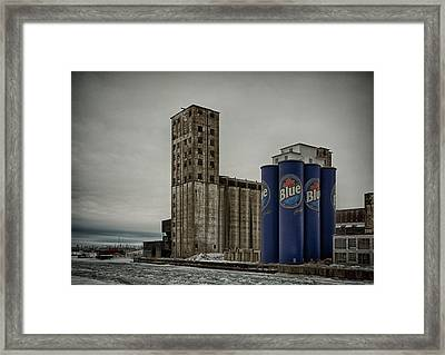 A Tall Blue Six-pack Framed Print by Guy Whiteley