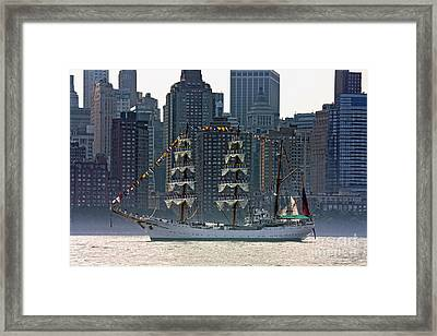 A Tall Ship Participating In Fleet Week Events In New York City  Framed Print