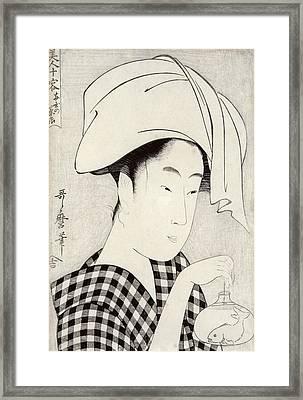 A Tea-house In Ryogoku, From The Series Bijin Juyo Ten Female Figures Framed Print