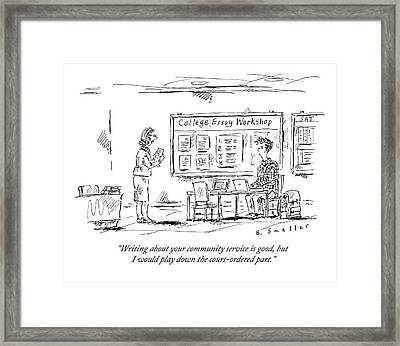 A Teacher Holding A Paper Talks To A Student Framed Print by Barbara Smaller