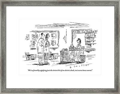 A Teacher Speaks To Two Parents Standing Framed Print by Barbara Smaller