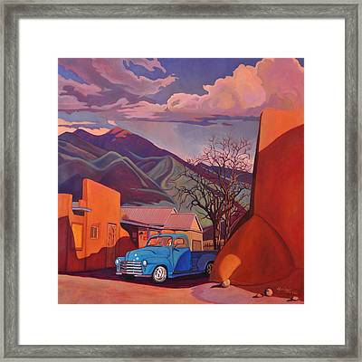 A Teal Truck In Taos Framed Print by Art James West