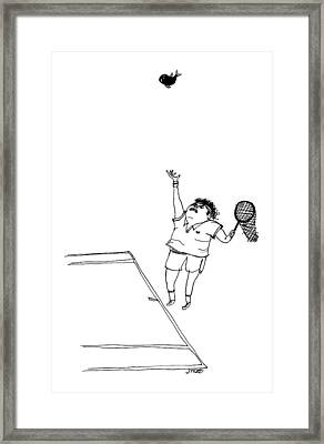 A Tennis Player Holds A Fishing Net Instead Framed Print