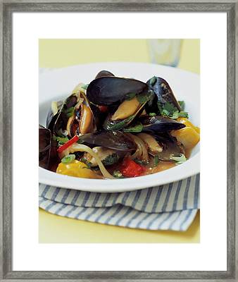 A Thai Dish Of Mussels And Papaya Framed Print by Romulo Yanes