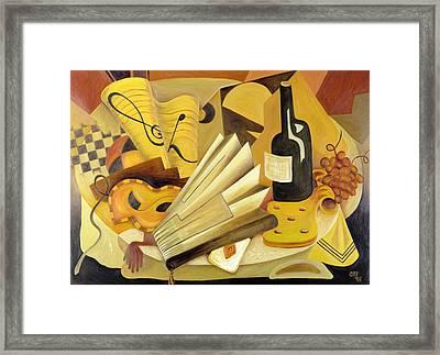 A Theatrical Dinner, 1998 Oil On Canvas Framed Print