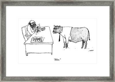A Therapist Shows A Cow Framed Print