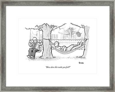 A Therapist Sits On A Swing Behind And Addresses Framed Print