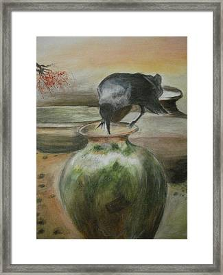A Thirsty Crow Framed Print