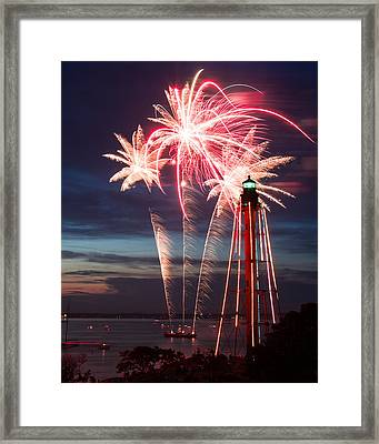 A Three Burst Salvo Of Fire For The Fourth Of July Framed Print