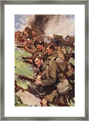 A Thrilling Charge, Illustration Framed Print by Cyrus Cuneo