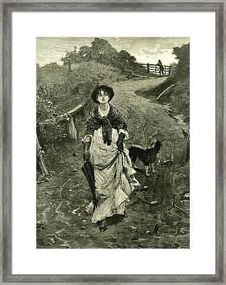 A Tiff 1878 Outdoors Nature Walk Woman Dog Fence Man Framed Print