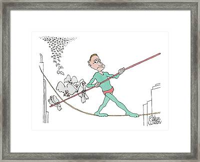 A Tightrope Walker Is Seen Walking Across A Line Framed Print