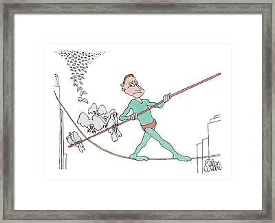 A Tightrope Walker Is Seen Walking Across A Line Framed Print by Gahan Wilson