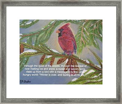 Framed Print featuring the painting A Tired And Hungry World Hears The Sweet And Savory Song Of A Cardinal by Kimberlee Baxter