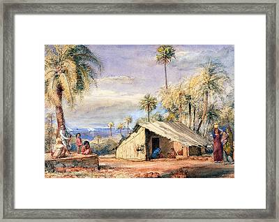A Toddy-drawers Hut In A Grove Of Date Framed Print by English School