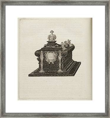 A Tomb Or Casket With A Bust Or Statue Framed Print