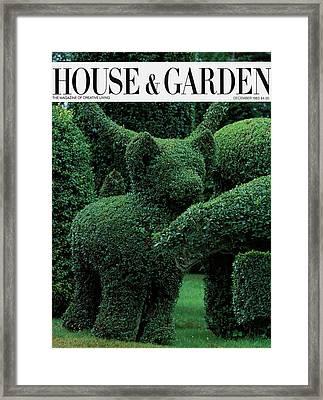 A Topiary Bear In Alice Braytons Green Animals Framed Print by Horst P. Horst